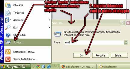 Etsitään Windows Vista käyttöjärjestelmässä CMD ja avataan se järjestelmänvalvojana